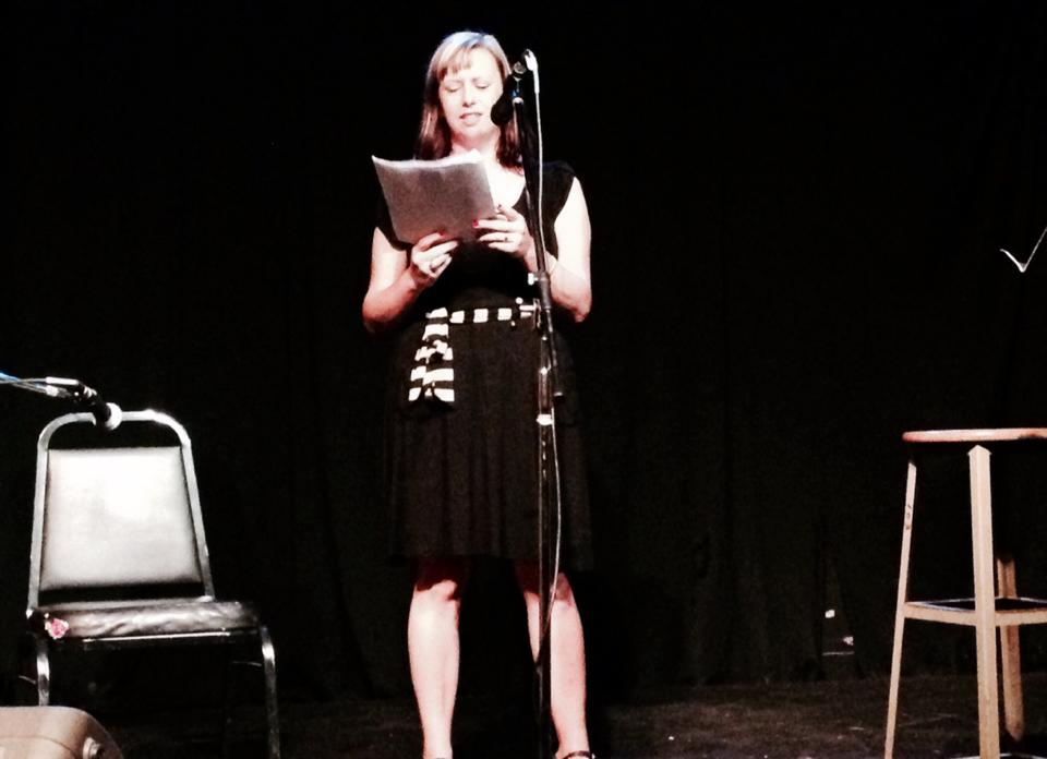 Jenny Hayes reading at Lit Fix. Photo by Mia Lipman