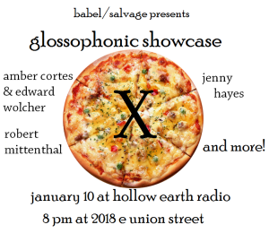 Glossophonic Showcase X, Jan 10, 8 PM at Hollow Earth Radio